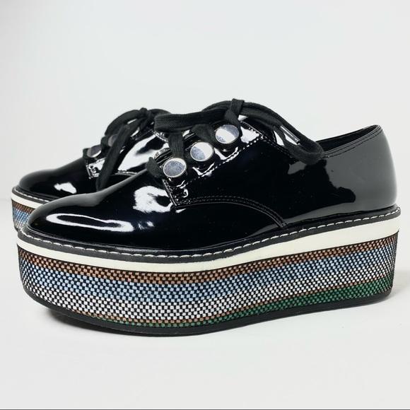 Zara Zapato Plan Patent Platform Weave Shoes